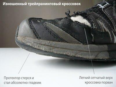 Изношенные трейлраннинговые кроссовки