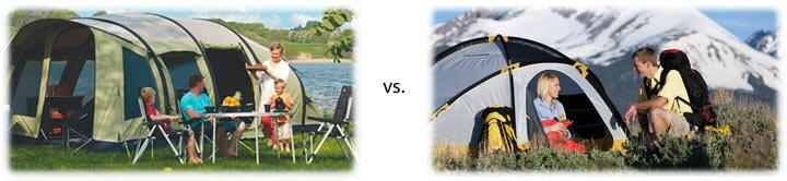 Различия кемпинговой и туристической палатки