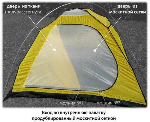 Вход палатки продублированный москитной сеткой