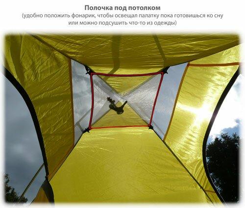Полочка под потолком палатки