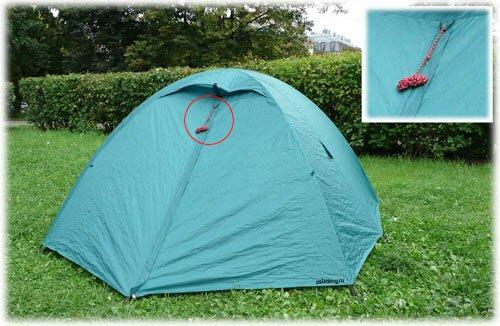 Смотанная штормовая оттяжка на палатке